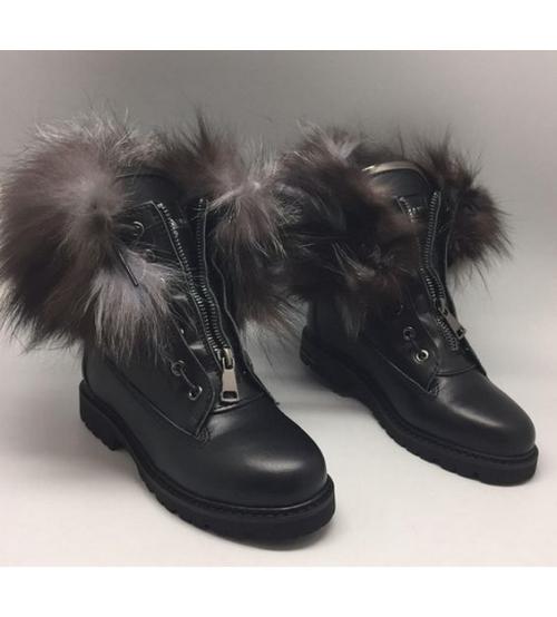 Ботинки с мехом Balmain женские (Бальман) High Black