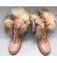 Ботинки с мехом Balmain женские (Бальман) High Pink