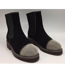 Ботинки зимние женские Brunello Cucinelli (Брунелло Кучинелли) Hight Black/Silver