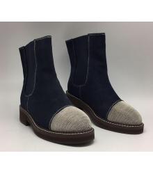 Ботинки зимние женские Brunello Cucinelli (Брунелло Кучинелли) Hight Blue/Silver