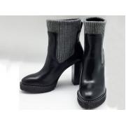 Полусапоги женские Brunello Cucinelli (Брунелло Кучинелли) кожаные на высоком каблуке Black