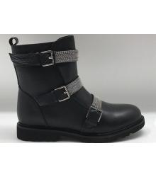 Ботинки женские Brunello Cucinelli (Брунелло Кучинелли) кожаные High Black