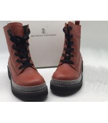 Ботинки женские Brunello Cucinelli (Брунелло Кучинелли) кожаные Hight Red