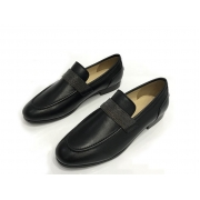 Женские лоферы Brunello Cucinelli (Брунелло Кучинелли) кожаные на низком каблуке Black