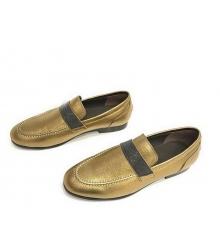 Женские лоферы Brunello Cucinelli (Брунелло Кучинелли) кожаные на низком каблуке Gold