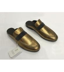 Женские мюли Brunello Cucinelli (Брунелло Кучинелли) кожаные на низком каблуке Gold