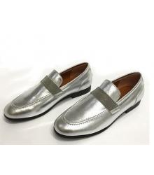 Женские лоферы Brunello Cucinelli (Брунелло Кучинелли) кожаные на низком каблуке Silver