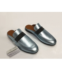 Женские мюли Brunello Cucinelli (Брунелло Кучинелли) кожаные на низком каблуке Silver