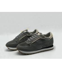 Женские кроссовки Brunello Cucinelli (Брунелло Кучинелли) кожаные на шнуровке Gray