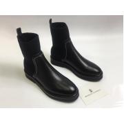 Женские ботинки Brunello Cucinelli (Брунелло Кучинелли) кожаные небольшой каблук Black