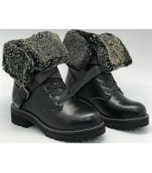 Ботинки женские Brunello Cucinelli (Брунелло Кучинелли) зимние на меху кожаные Black