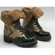 Ботинки женские Brunello Cucinelli (Брунелло Кучинелли) зимние на меху кожаные Brown/Black