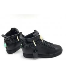 Кеды женские Buscemi 125 mm (Бушеми) кожаные Black