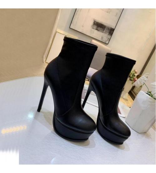Женские ботильоны Casadei (Касадей) Flora кожаные на высоком каблуке платформе Black