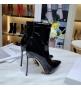 Женские ботильоны Casadei (Касадей) Flora кожаные на высоком каблуке шпилька Black