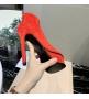 Женские ботильоны Casadei (Касадей) Flora замшевые на высоком каблуке платформе Red