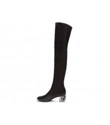 Ботфорты женские Casadei (Касадей) кожаные каблук средний Black