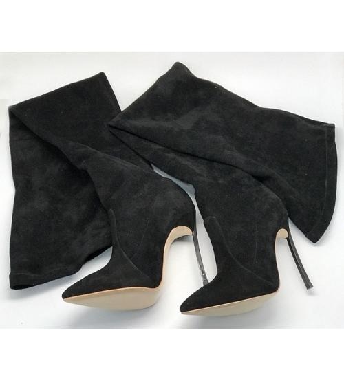 Ботфорты женские Casadei (Касадей) замшевые Black