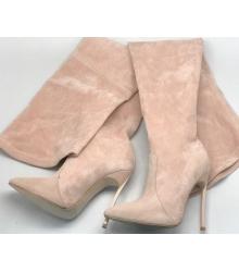 Ботфорты женские Casadei (Касадей) замшевые Pink