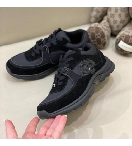 Женские кроссовки Ch-l (Шанель) комбинированные с логотипом на шнурках Black