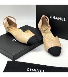 Женские сандалии Ch-l (Шанель) кожа Beige/Black