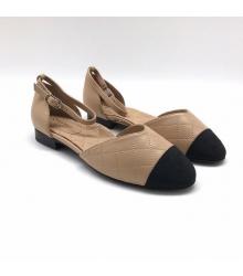 Женские сандалии Ch-l (Шанель) кожа стеганая Beige/Black
