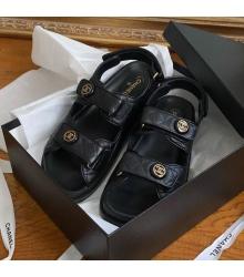 Женские сандалии Ch-l (Шанель) кожаные Black