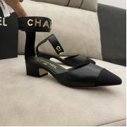 Женские туфли Ch-l (Шанель) кожаные каблук средней длины Black