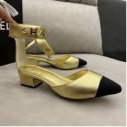 Женские туфли-лодочки Ch-l (Шанель) кожаные каблук средней длины Gold