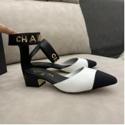 Женские туфли-лодочки Ch-l (Шанель) кожаные каблук средней длины White