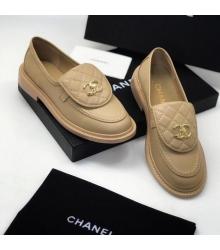Женские лоферы Ch-l (Шанель) кожаные с лого Beige