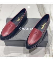 Женские лоферы Ch-l (Шанель) кожаные с лого Black/Bordo