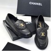 Женские лоферы Ch-l (Шанель) кожаные с лого Black