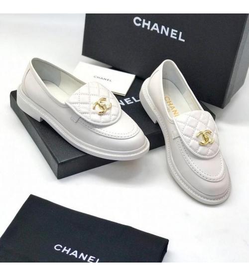 Женские лоферы Ch-l (Шанель) кожаные с лого White