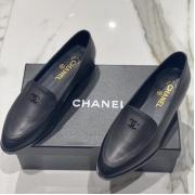 Женские лоферы Ch-l (Шанель) кожаные с логотипом Black