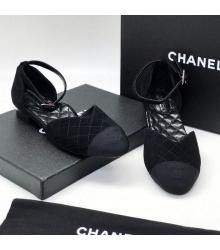 Женские сандалии Ch-l (Шанель) текстиль Black