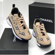 Женские кроссовки Ch-l (Шанель) замшевые с логотипом на шнурках Beige