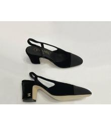Туфли-лодочки женские Chanel (Шанель) бархат каблук средний Black