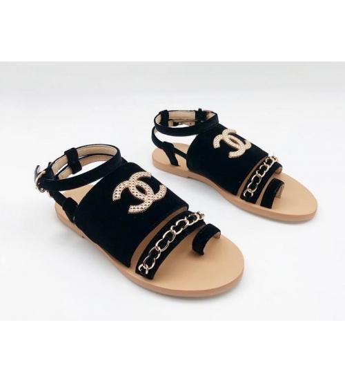 Женские сандалии Chanel (Шанель) бархат регулируемые ремни с цепочкой Black
