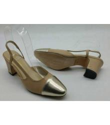 Женские туфли Chanel (Шанель) Beige/Gold