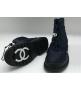 Ботинки дутики женские Chanel (Шанель) зимние мех овчина Dark Blue