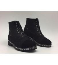 Ботинки осенние женские Chanel (Шанель) High Black