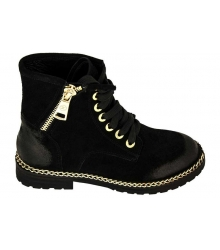 Ботинки женские Chanel (Шанель) Black/Gold