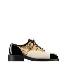 Ботинки-дерби женские Chanel (Шанель) кожаные Куба Black/Gold/White