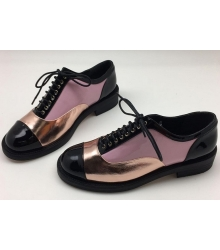 Ботинки-дерби женские Chanel (Шанель) кожаные Куба Black/Pink