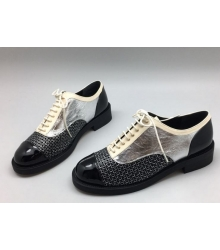 Ботинки-дерби женские Chanel (Шанель) кожаные Куба Black/Silver/White