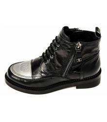 Ботинки женские Chanel (Шанель) Black/Silver