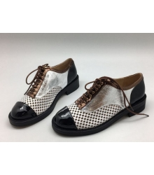 Ботинки-дерби женские Chanel (Шанель) кожаные Куба Black/Silver/Brown