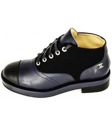 Ботинки женские Chanel (Шанель) Black\Blue