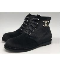 Ботинки женские Chanel (Шанель) брендовые со шнуровкой Black